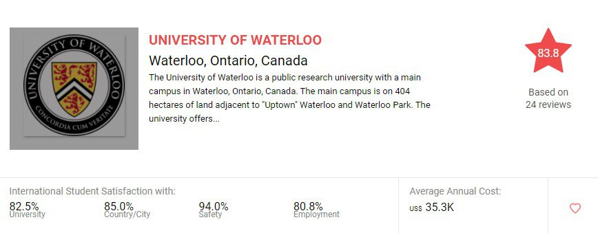 safest universities in the world for international students UNIVERSITY OF WATERLOO